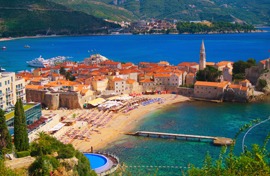 Budva beach and Old Town