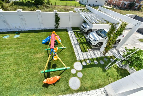 Children's play area and parking
