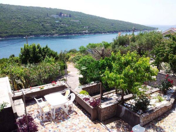 Looking down onto the terrace and sea